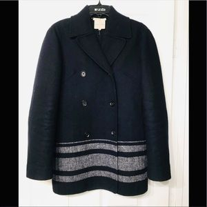CELINE FINITION MAIN CASHMERE BLEND COAT NAVY